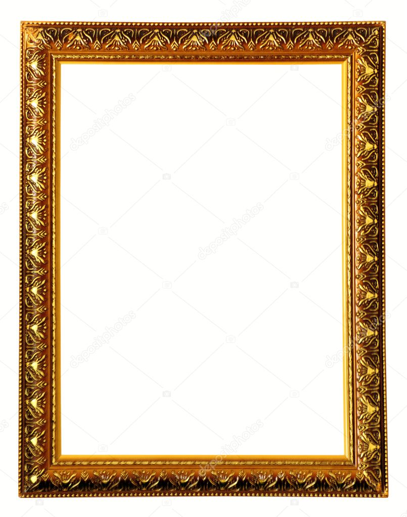Gold color wooden photo frame — Stock Photo #6047002