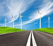 Road and wind turbines — Stock Photo
