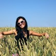 Stock Photo: Wheat field and girl