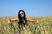 Wheat field and girl — Foto de Stock