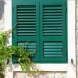 The window with wooden shutters of the old house — Stock Photo