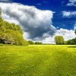 Green field and stormy cloud — Stock Photo