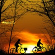 Two mountain biker silhouette at sunset - Stock Photo