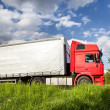 Red truck on highway — Stock Photo #5663342