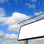 Blank billboard on blue sky — Stock Photo