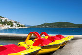 Pedal boats on adriatic coast — Stock Photo