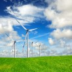 Wind energy on blue sky — Stock Photo