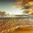 Beach and sea sunset - Stock Photo