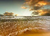 Beach and sea sunset — Stock Photo