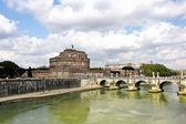 Sant Angelo Castle and Bridge in Rome — Stock Photo