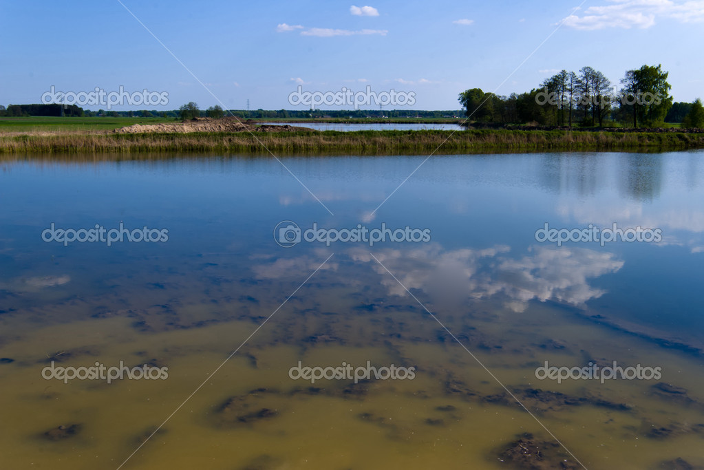 Water plummets many feet down the face  in eastern Poland  Stock Photo #5660265