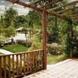 Panoramic view of nice summer terrace in tropic environment — Stok Fotoğraf #5864972