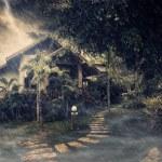 朦胧夏季房子在暴风雨之夜期间的视图 — 图库照片