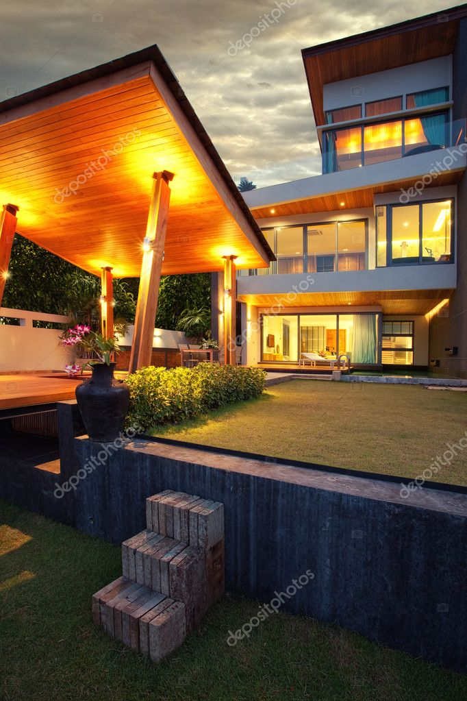 View of nice modern villa in  summer after dark  environment  Stock Photo #5961429