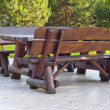 Stock Photo: Brown bench