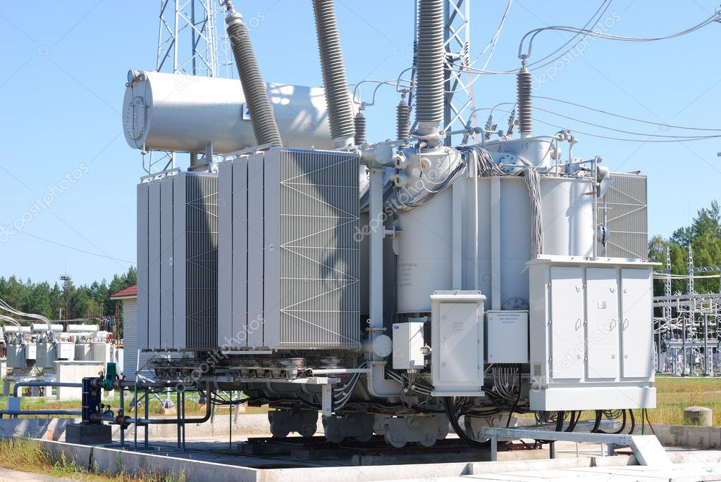 The powerful transformer on electrical substation — Stock Photo #6644953