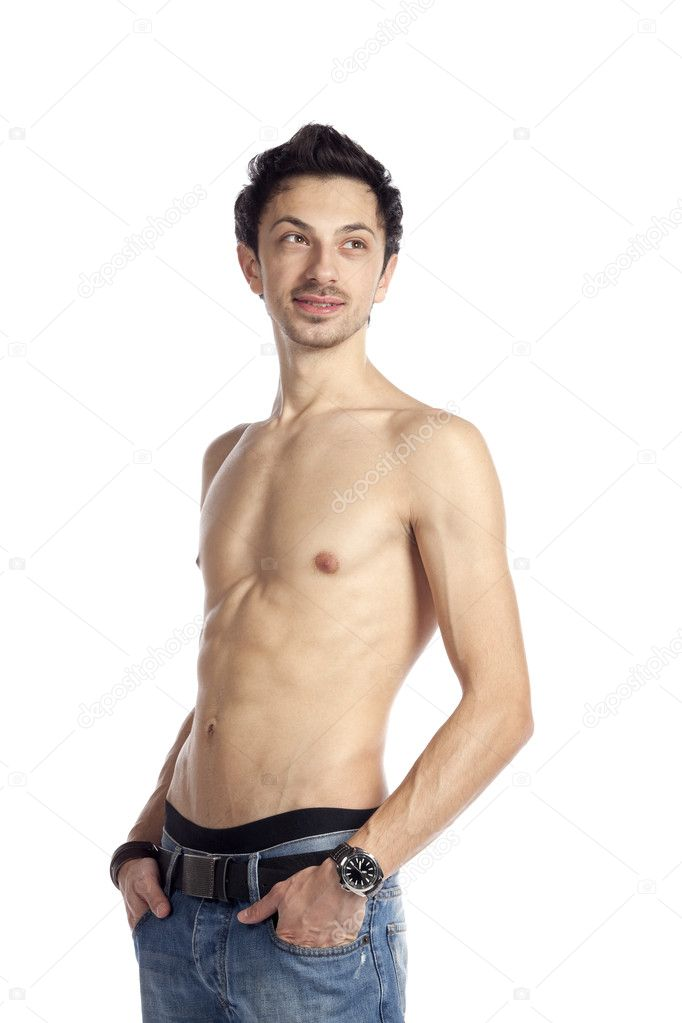 Nude sexy young man smiling and posing. High resolution image taken in studio. Isolated on pure white background with copy space for your ad. Part of photo seri — Stock Photo #5480967