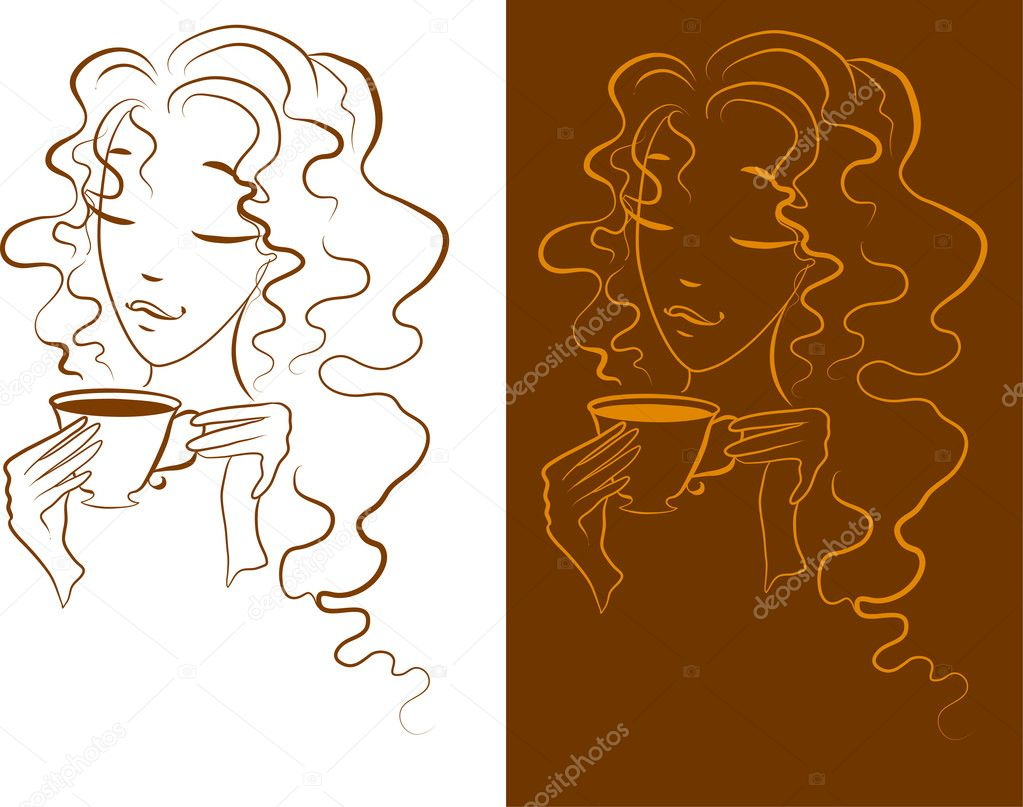 Silhouette of a Young female drinking hot coffee  Stock Vector #5513905