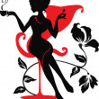Silhouette of woman with a cup of coffee — Imagen vectorial