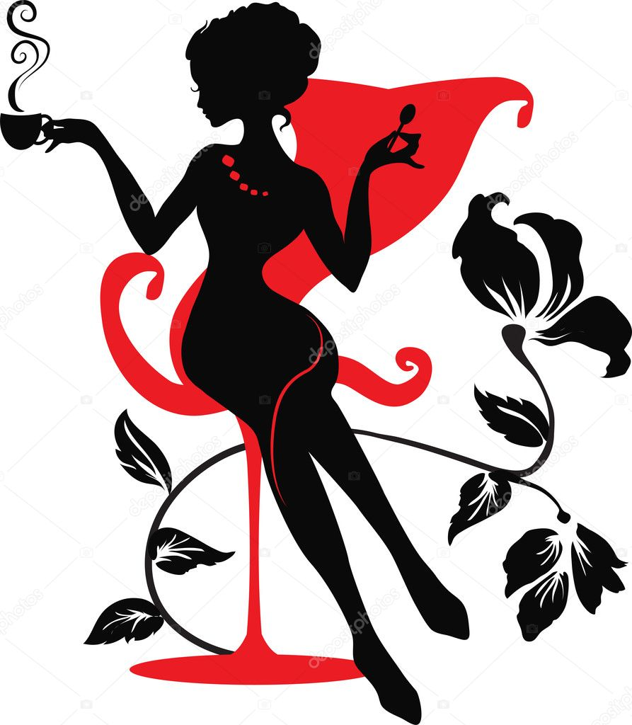 Silhouette of a Young female holding hot coffee or tea  Stock vektor #5689985
