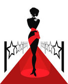 Woman silhouette on a red carpet — Stock Vector