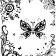 Corner doodle graseful set with butterfly - Stock Vector