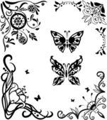 Hoek doodle graseful instellen met vlinders — Stockvector