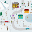 KIds town in winter. Vector illustration cartoon - Stock Vector