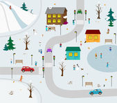KIds town in winter. Vector illustration cartoon — Stock Vector