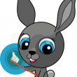 Funny cartoon bunny with toothbrush — Stock Vector