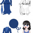Costume girl set — Stock Vector
