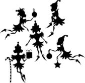 Elves Silhouettes — Stock Vector