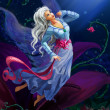 The night fairy flying to the moon — Stock Photo