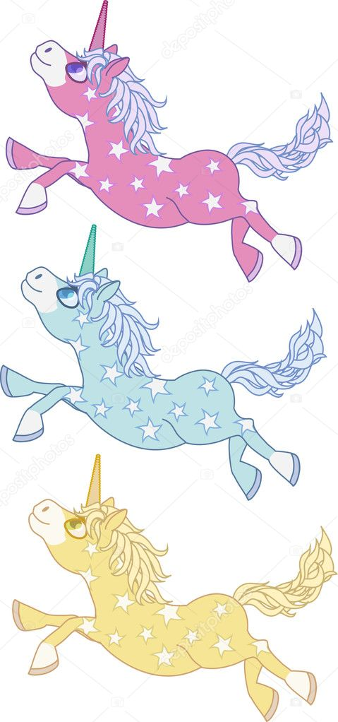 Magic Unicorn set  with stars in tree different colour — Stock Vector #6262182