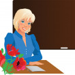 Stock Vector: Pretty teacher with flowers