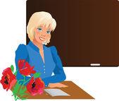 Pretty teacher with flowers — Stock Vector