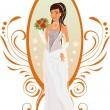 Happy bride in autumn colors — Stock Vector #6469867