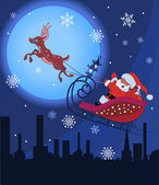 Santa Claus and Rudolf in Christmas night — Stock Vector