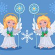 Stock Vector: Christmas cute angels set