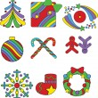 Set of Christmas icons in pop-art style — Stock Vector