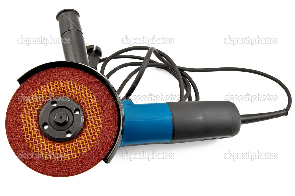 Electric tool with brown grinding wheel isolated on white background  Stock Photo #5545472