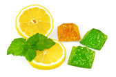 Jelly yellow and green with lemon and mint — Stock Photo