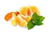 Mandarin purified with mint and slices — Stock Photo