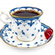 Постер, плакат: Coffee in the blue cup with jelly