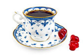 Coffee in the blue cup with jelly — Stock Photo