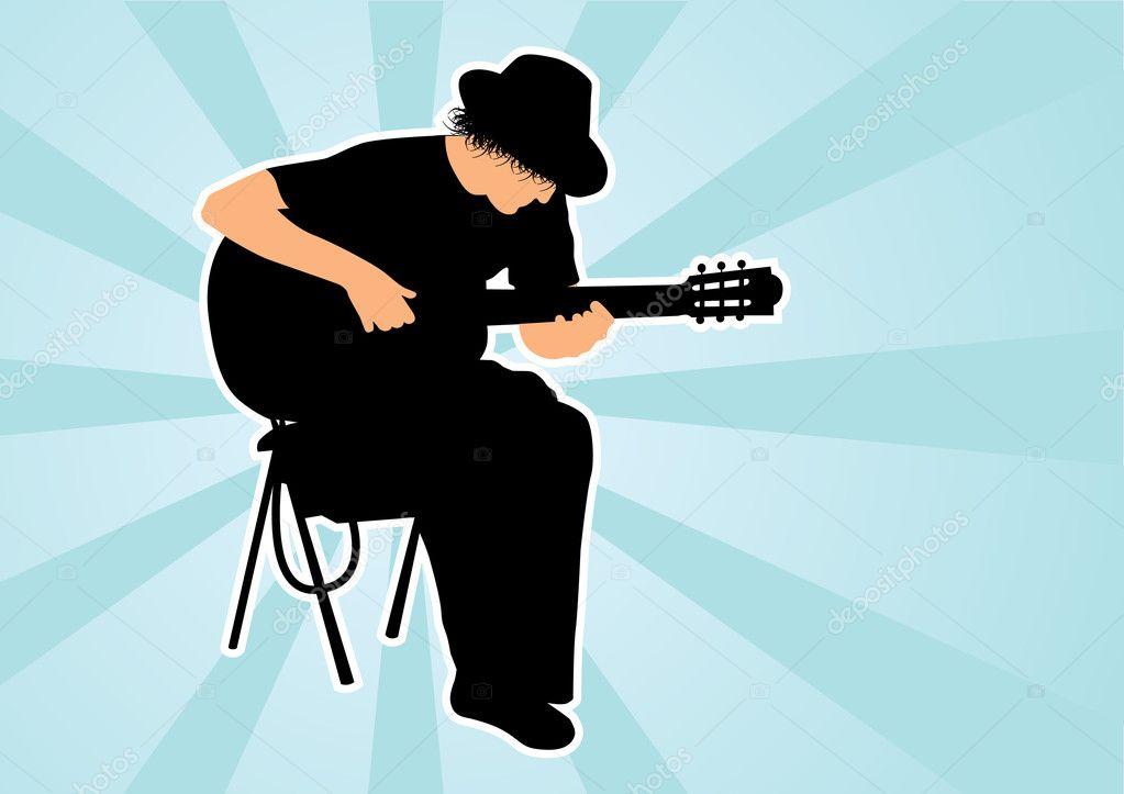 Guitarist silhouette — Stock Vector © Makc76 #5563487