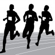 Running silhouette vector — Stockvectorbeeld