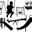 Stock Vector: Kids playground silhouette