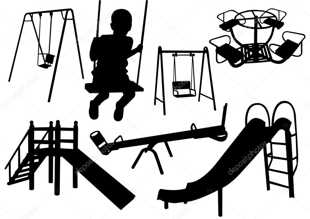 Silhouettes Of Children Playing Different Games Stock