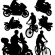 Silhouettes of motorcycles and bikes — Stock Vector